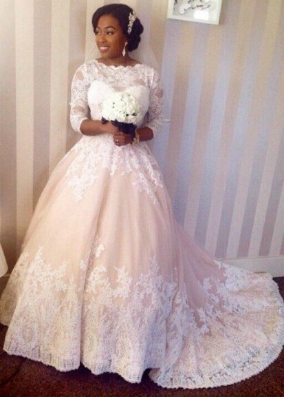 Custom Made Plus Size Ball Gown African Wedding Dress With 3 4 Long Sleeve Sheer Lace 2017