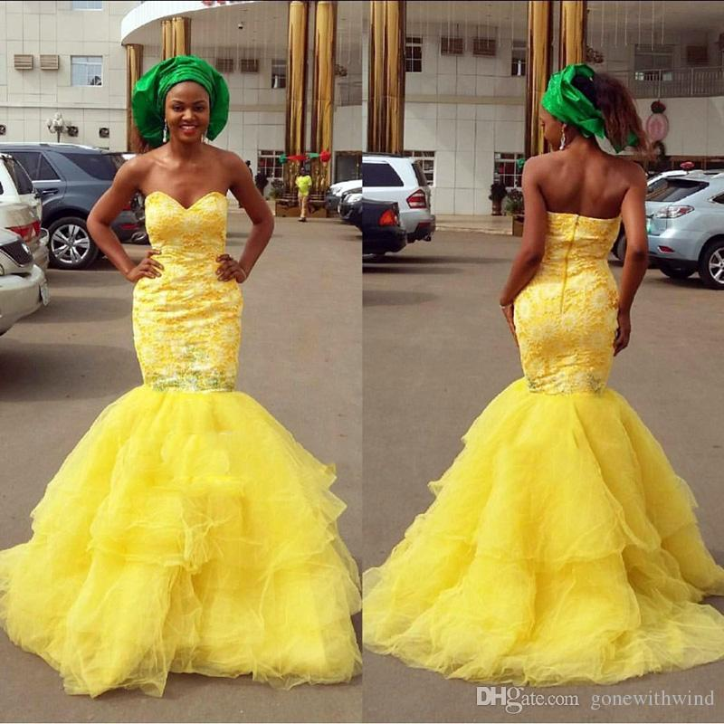 Yellow Mermaid Wedding Dresses 2017 African