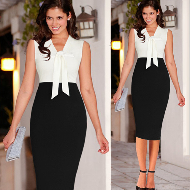 Fashion 2016 Spring Autumn Style Sexy Women Contrast Color Sleeveless V Neck Pencil Dresses Office Wear.jpg 640x640