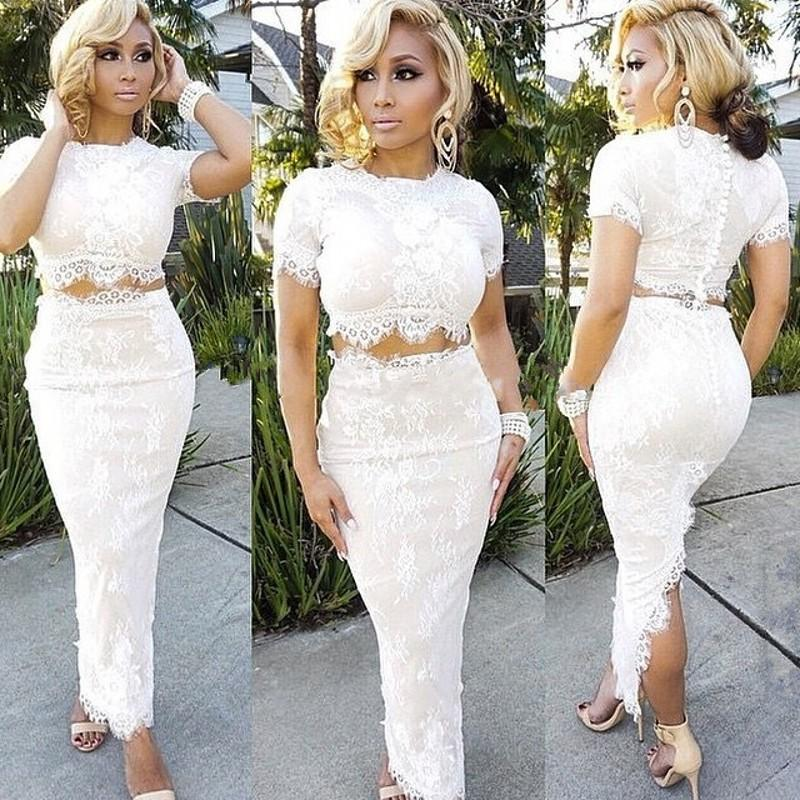 Sexy Straight White Lace Two Pieces Prom Dresses With Sleeves Vestido De Festa African Split Ankle