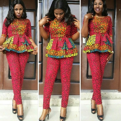 Ladies Latest Styling on African Ankara/Print: V9